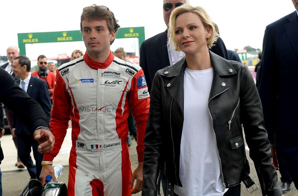 Monacos Fürstin Charlène mit Rennfahrer Francesco Castellacci Foto: AFP