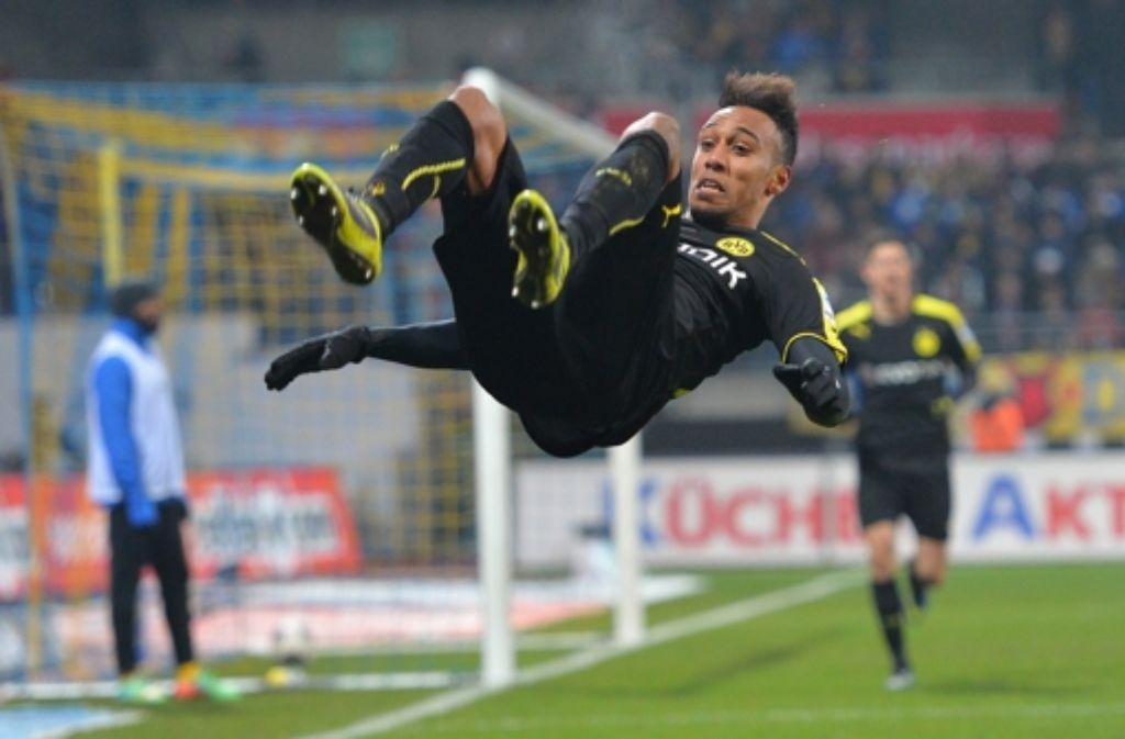 Aubameyang traf beim 2:1 des BVB bei Eintracht Braunschweig doppelt.  Foto: Bongarts/Getty Images