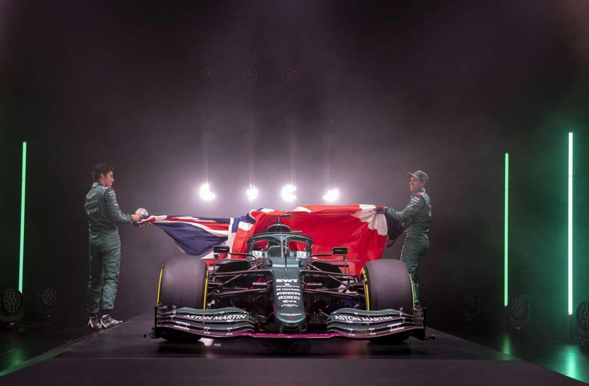 """""""Unser Auto ist bis jetzt das schönste, es sieht auf jeden Fall sehr gut aus"""", schwärmte Vettel am Rande der virtuellen Vorstellung des neuen Aston-Martin-Rennstalls. Foto: dpa"""