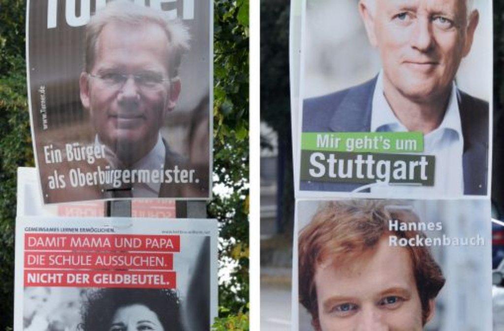 Es war nicht anders zu erwarten: Von den 14 zur OB-Wahl angetretenen Kandidaten haben sich Kuhn, Turner, Wilhelm und Rockenbauch deutlich vom Rest abgesetzt. Der Gewinner des ... Foto: dpa
