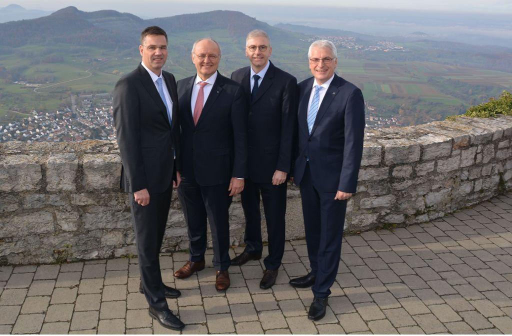 Die vier neuen Vorstände der Volksbank Mittlerer Neckar (v. l.): Martin Winkler, Heinz Fohrer, Markus Schaaf, Eberhard Gras. Foto: Volksbank