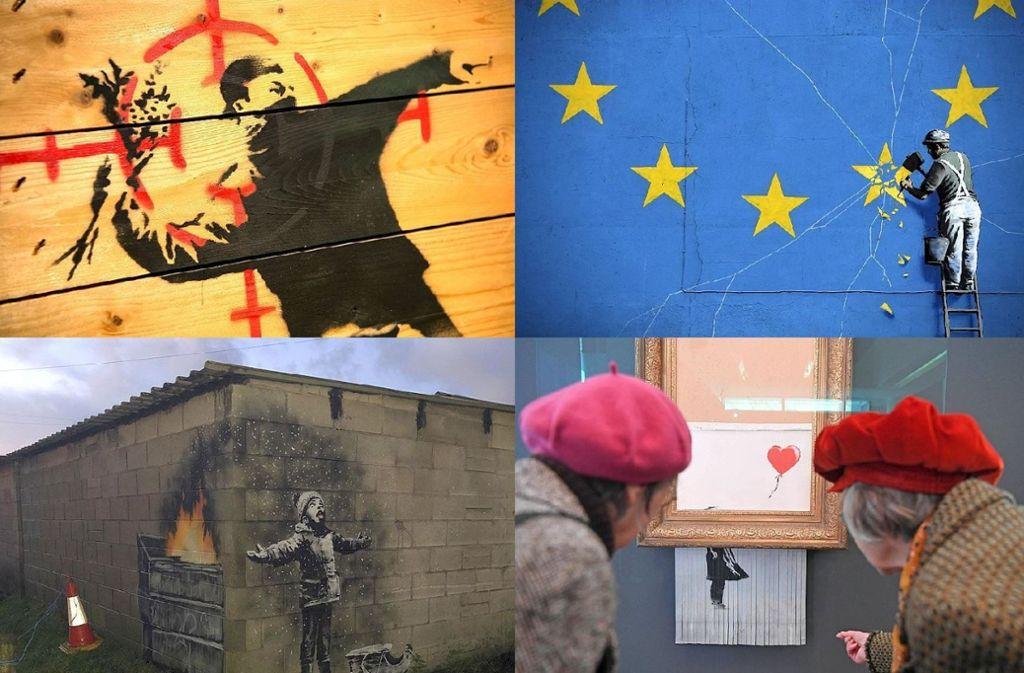"""Das alles ist Banksy: Das Schredder-Bild """"Love is in the Bin"""" (unten rechts) ist von 7. März an in Stuttgart in der Staatsgalerie. Was es mit den anderen Motiven auf sich hat, erfahren Sie in unserer Bildergalerie. Foto: AFP, dpa"""