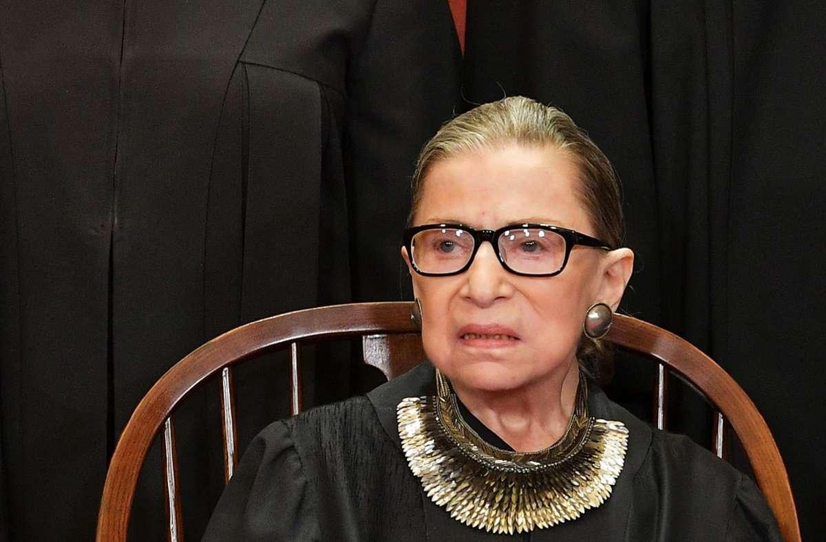 Die Verfassungsrichterin Ruth Bader Ginsburg starb im Alter von 87 Jahren an den Folgen einer Krebserkrankung. Foto: AFP/MANDEL NGAN