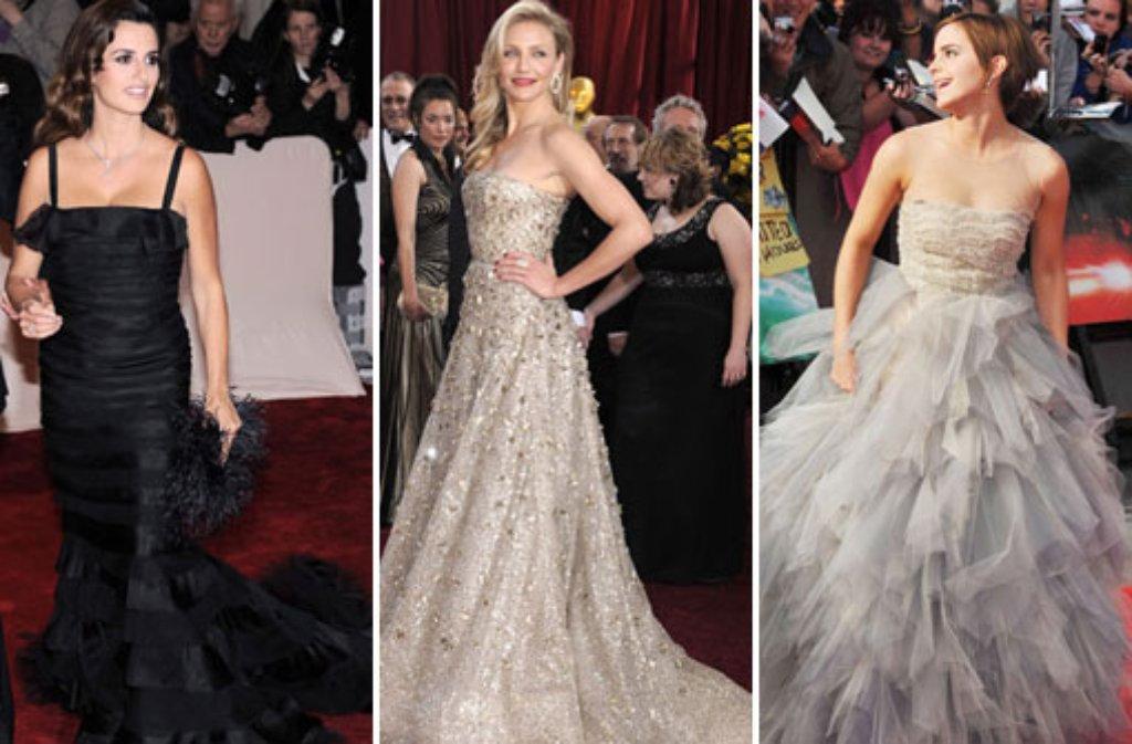 Drei schöne Frauen, drei außergwöhnliche Roben: Nicht nur Penélope Cruz, Cameron Diaz und Emma Watson tragen Oscar de la Renta auf dem roten Teppich. Hier sehen Sie, wer sich von den Kleiderträumen sonst noch verzaubern ließ. Foto: dpa/Fotomontage SIR
