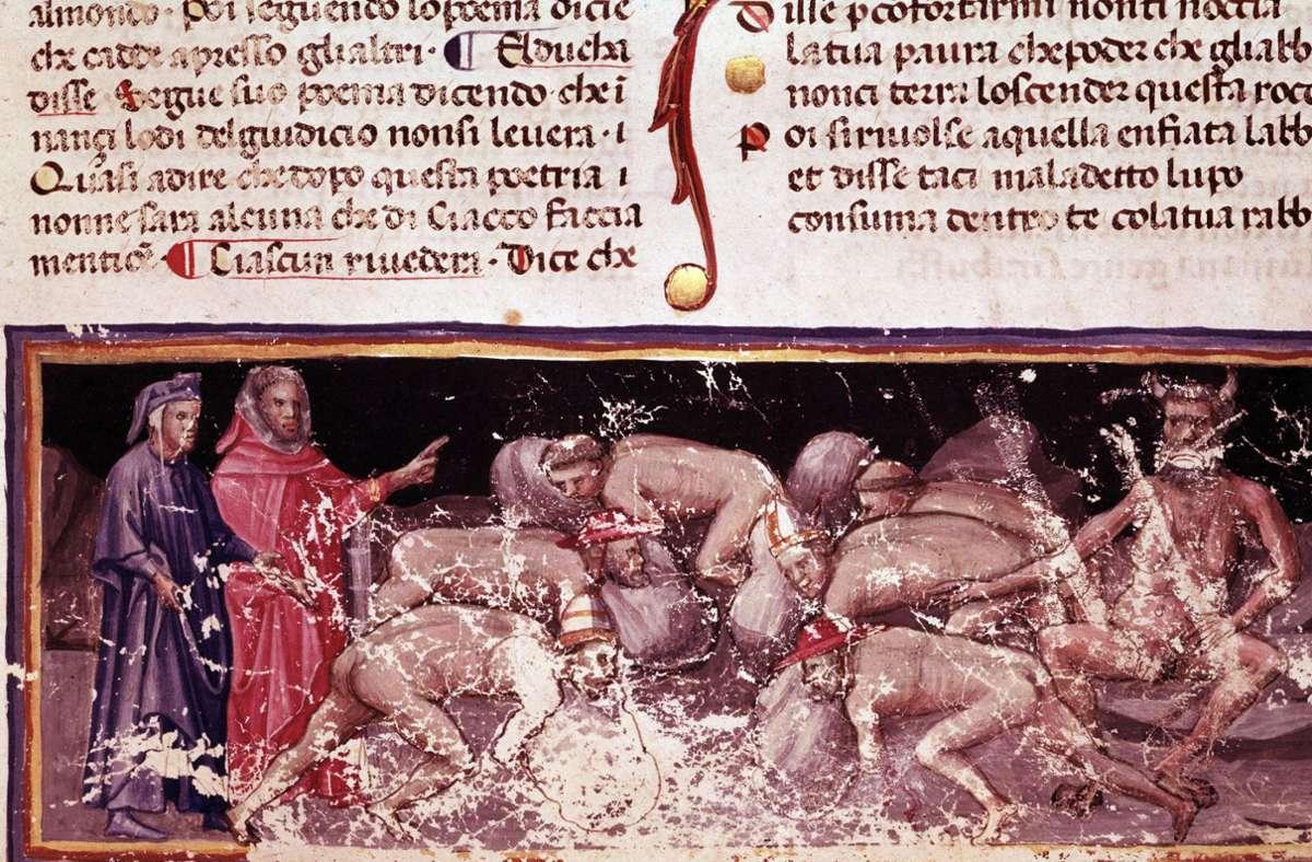 Unter den Verschwendern im vierten Höllenkreis finden sich auffallend viele Kleriker. Handschrift von 1405, Biblioteca Trivulziana Mailand Foto: imago/Leemage/imago stock&people
