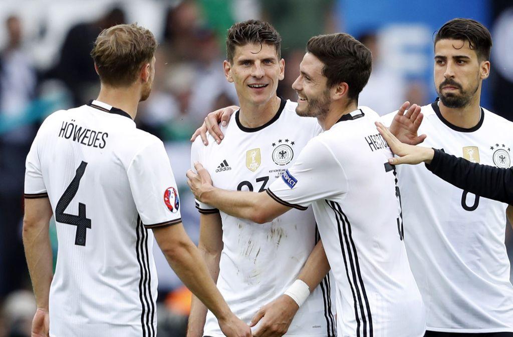 Mario Gomez vom VfB Stuttgart erzielte für das DFB-Team 31 Tore in 78 Spielen. Wir blicken in Bildern auf die lange Karriere des Stürmers. Foto: Pressefoto Baumann