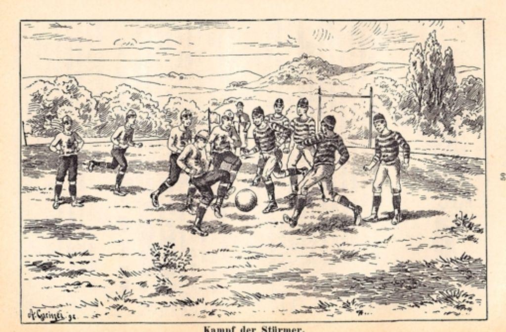 Eine der ersten Darstellungen vom Rasensport auf dem Wasen wurde 1893 veröffentlicht Foto: Philipp Heineken, Die beliebtesten Rasenspiele