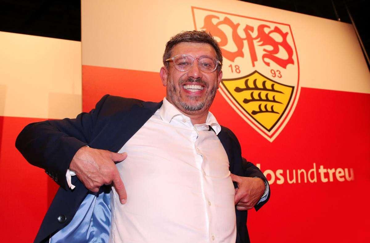 Der VfB-Präsident Claus Vogt trägt den Brustring im Herzen. Foto: Baumann