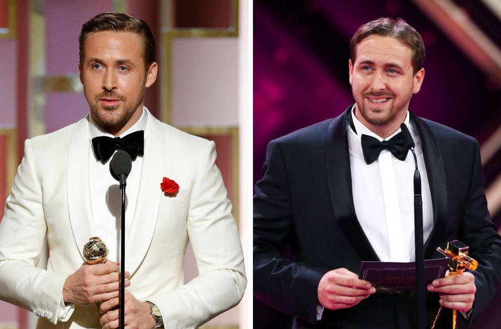Der echte und der falsche Gosling: Links der US-Schauspieler Ryan Gosling im Januar in Los Angeles. Rechts  Ludwig Lehner, das deutsche Ryan-Gosling-Double, bei der Verleihung der Goldenen Kamera. Foto: Paul Drinkwater/NBC/dpa