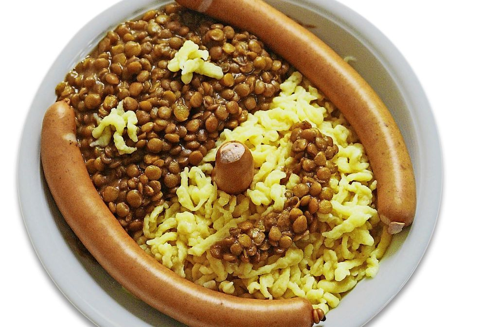 Linsen mit Spätzle und Saitenwürstchen – das regionale  Gericht ist Bestandteil des Speiseplans. Foto: Archiv/Stoppel