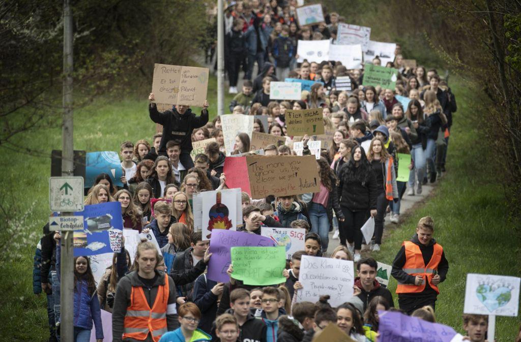 Eine beeindruckende Aktion der Weissacher Schüler Foto: Gottfried Stoppel