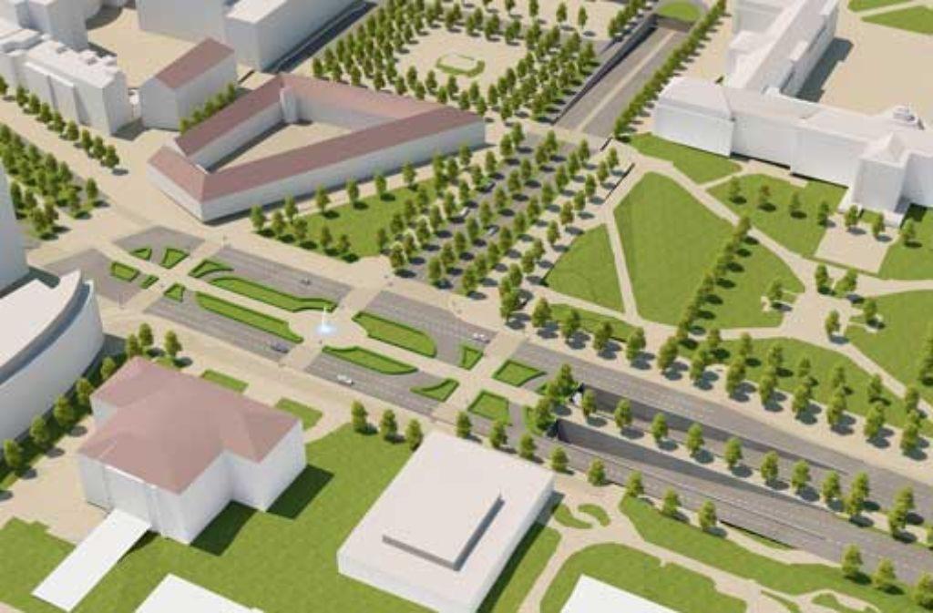 Ein Detail der neuen Pläne: der Charlottenplatz soll so umgestaltet werden, dass er seinen heutigen Charakter als Betonwüste verliert. Foto: Büro Aldinger und Wolf