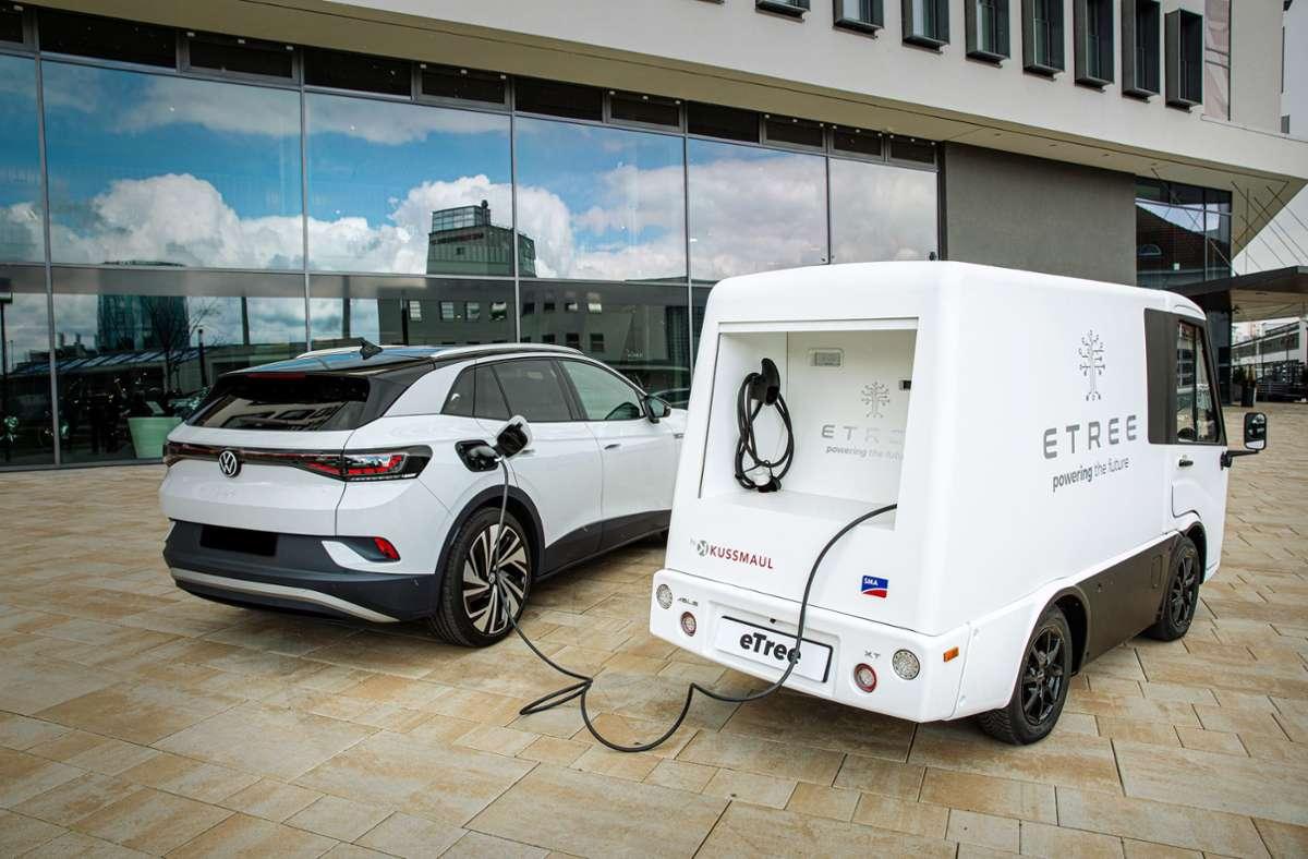 Ein mobiler Ladeservice für Elektrofahrzeuge soll den Besitzern die Angst vorm Liegenbleiben nehmen. Foto: E-Tree