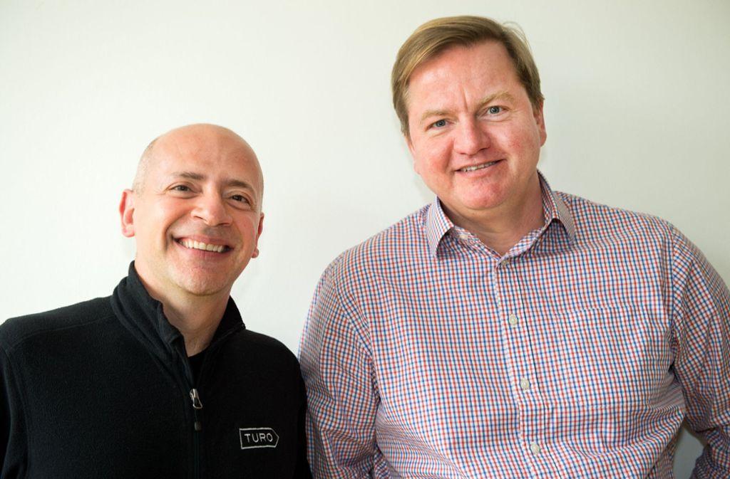 Der Vorstandsvorsitzende der Carsharing-Plattform Turo, Andre Haddad (links), und Deutschlands Turo-Chef Marcus Riecke Foto: dpa