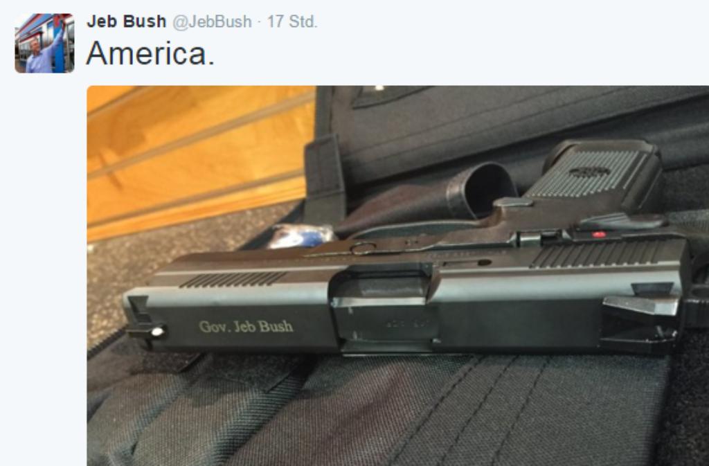 Heiß diskutiert: Der Tweet von Republikaner Jeb Bush und seine Version von America Foto: Screenshot