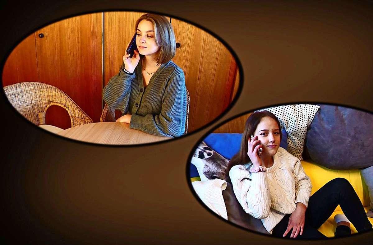 Das funktioniert trotz Corona – mit der Freundin quatschen, wie die 15-Jährige Helen Raschke (rechts) aus dem Film, den der Landkreis   produziert hat. Foto: Film/Landratsamt