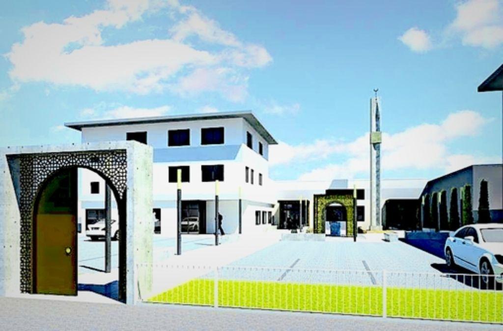 Die geplanten  Außenanlagen und das Minarett sollen die Moschee als religiöses Zentrum inmitten eines Gewerbegebietes sichtbar machen. Foto: Adis Talic, Adnan Delic, Markus Hartmann