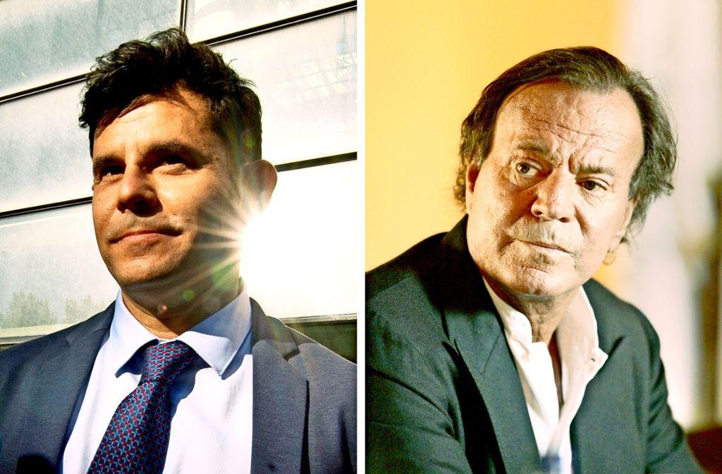 Die Ähnlichkeit gab den Ausschlag: Javier Sanchez Santos (links) ist von  einem Gericht in Valencia bestätigt worden, ein Sohn des spanischen Sängers Julio Iglesias (rechts) zu sein. Foto: dpa