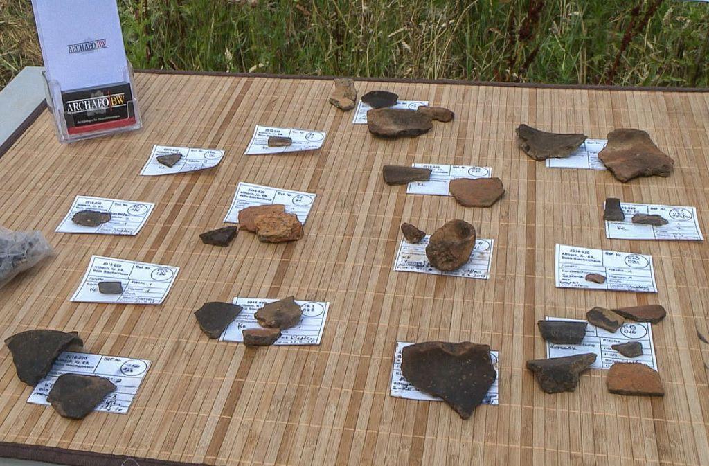Laufend finden die Arbeiter und Wissenschaftler bei ihren Grabungen Bruchteile von Keramikgefäßen – sie sind ein Zeugnis der frühen Menschheitsgeschichte in Altbach. Foto: SDMG