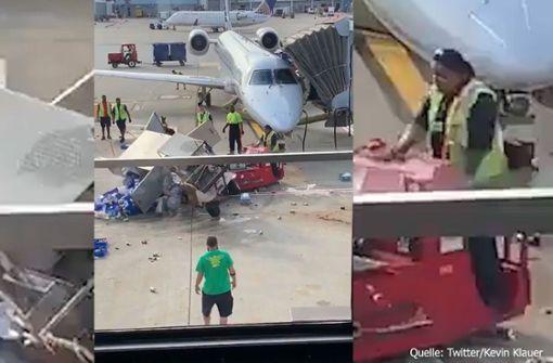 Flughafenfahrzeug gerät außer Kontrolle