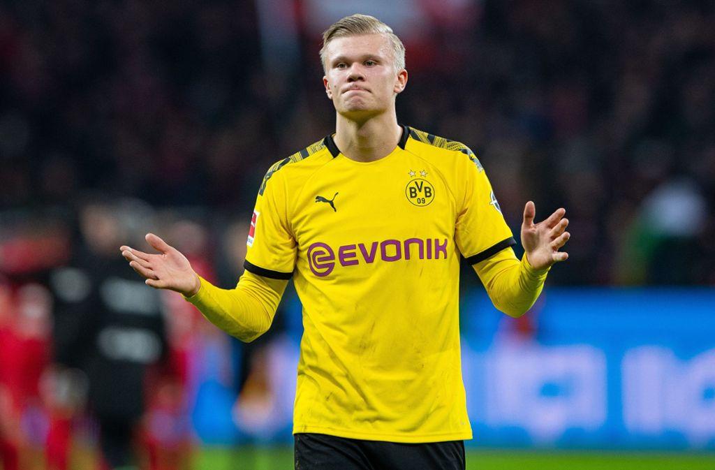 Dortmunds Erling Haaland will mehr Tore erzielen als Robert Lewandowski. Foto: dpa/Guido Kirchner