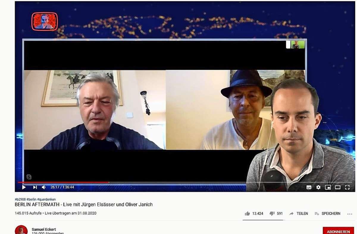 Video-Chat auf Youtube: Samuel Eckert von der Querdenker-Bewegung (re.) mit Jürgen Elsässer (li.) und Oliver Janich. Foto: screenshot/Youtube