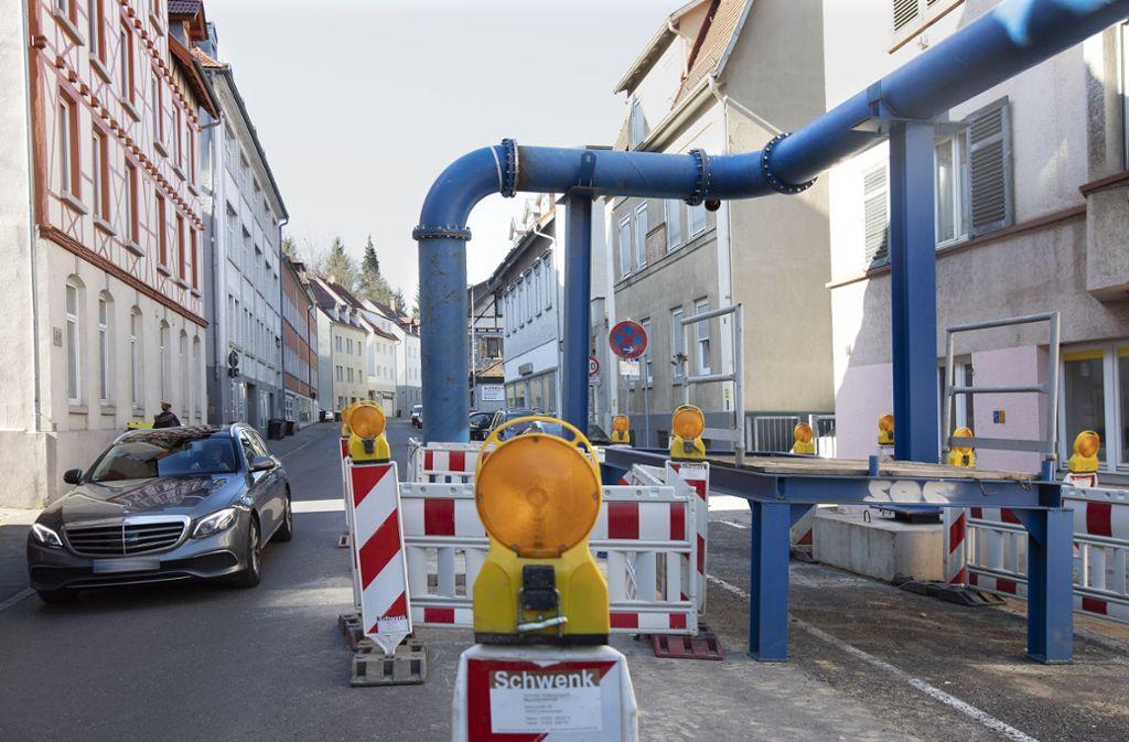 Die Großbaustelle ist  in der Mittleren Beutau angekommen. Die weiteren Arbeiten zum Neubau des Geiselbachkanals machen eine Vollsperrung erforderlich. Foto: Horst Rudel Foto: