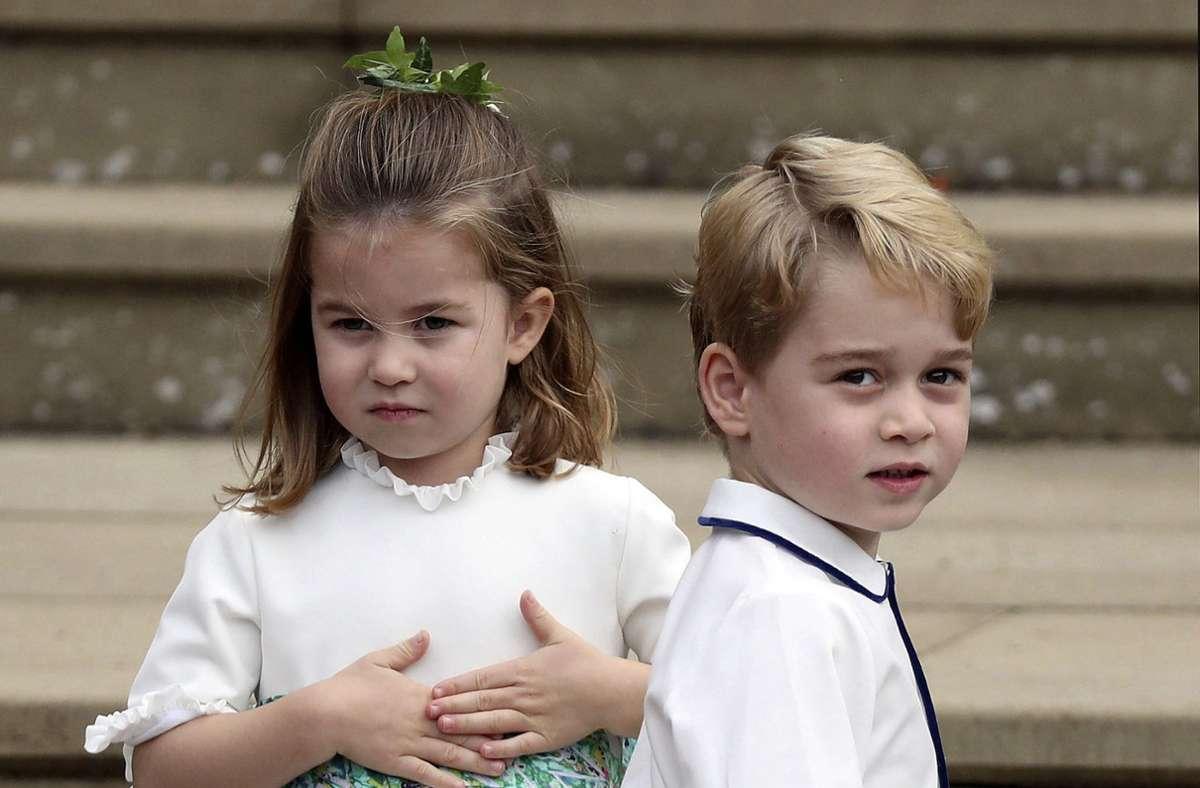 Prinz George mit seiner Schwester Charlotte im Jahr 2018 Foto: dpa/Steve Parsons