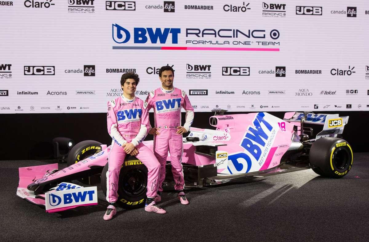 Noch ist alles rosa bei Racing Point. Mit dem Namen Aston Martin wird sich ab 2021 wohl auch die Farbe ändern. Foto: imago//Mathias Mandl
