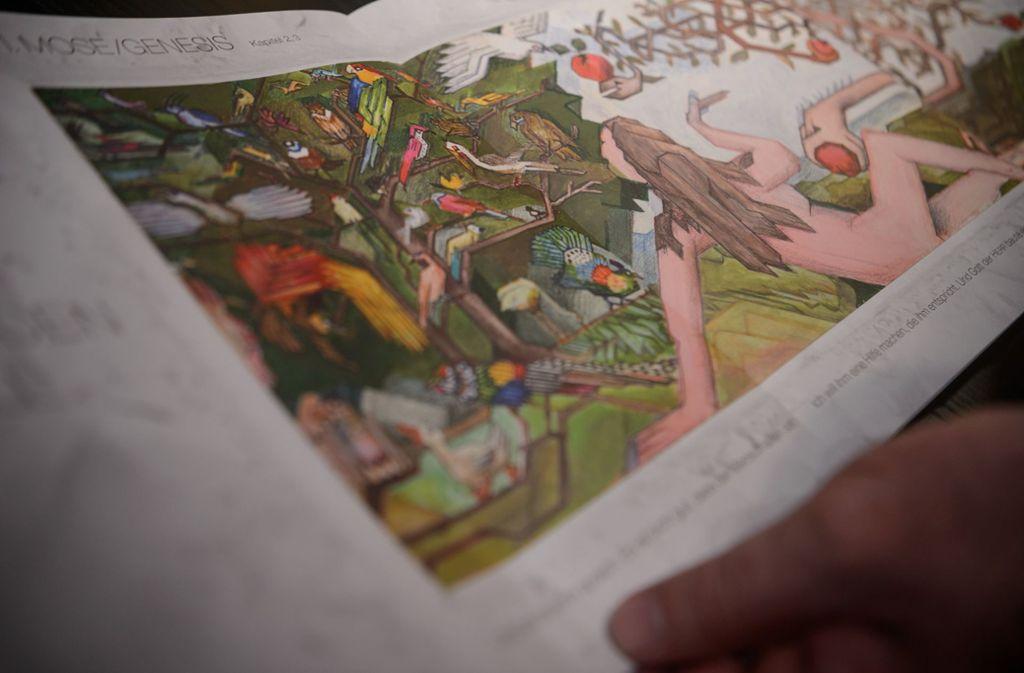 Adam und Eva im Paradies: Eine Szene  in der  Wiedmann-Bibel Foto: dpa