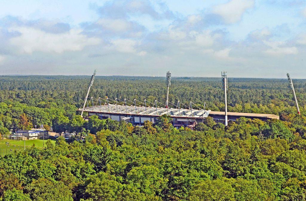 Am Ort des bestehenden Stadions im Karlsruher Wildpark soll auch der Neubau seinen Platz haben. Foto:Stefan Jehle Foto: