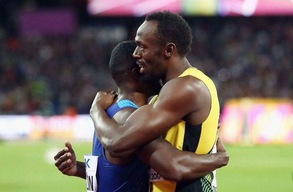 Usain Bolt umarmt Justin Gatlin. Foto: Getty Images Europe