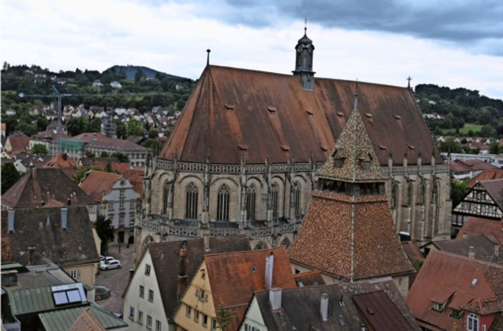 Blick vom Turm der Johanniskirche auf das  benachbarte Heilig-Kreuz-Münster Foto: Bäßler