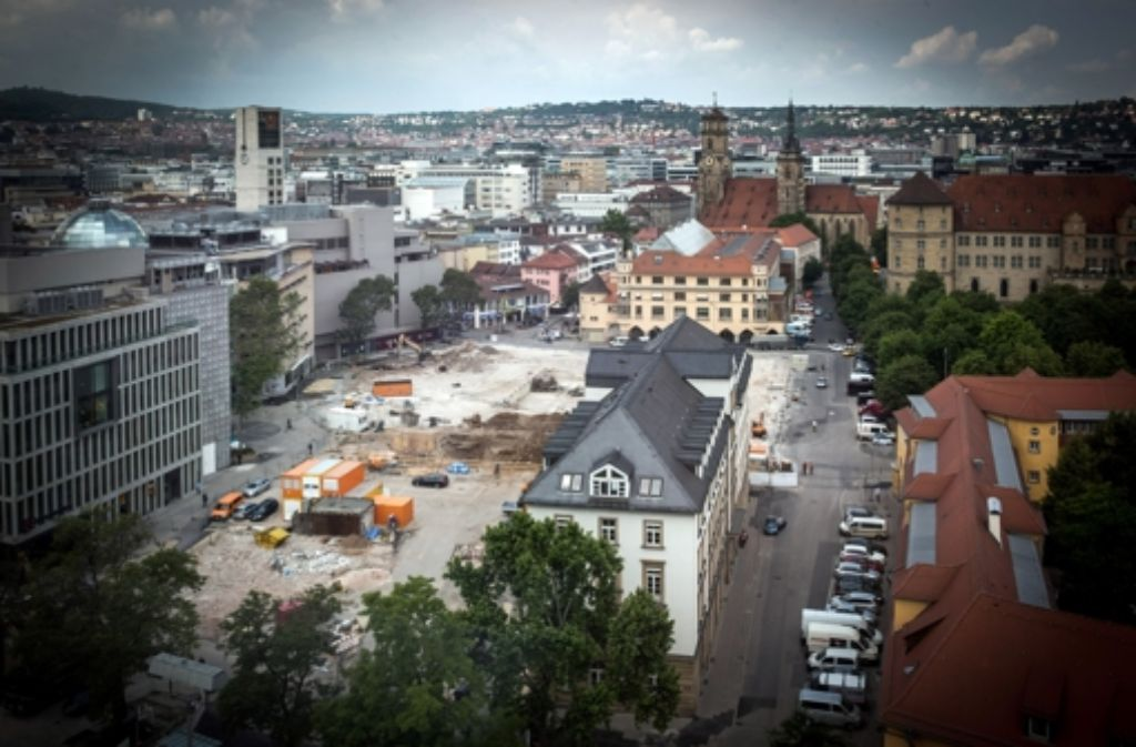 Das Hotel Silber vor der Baustelle im Dorotheenquartier. Foto: Zweygarth