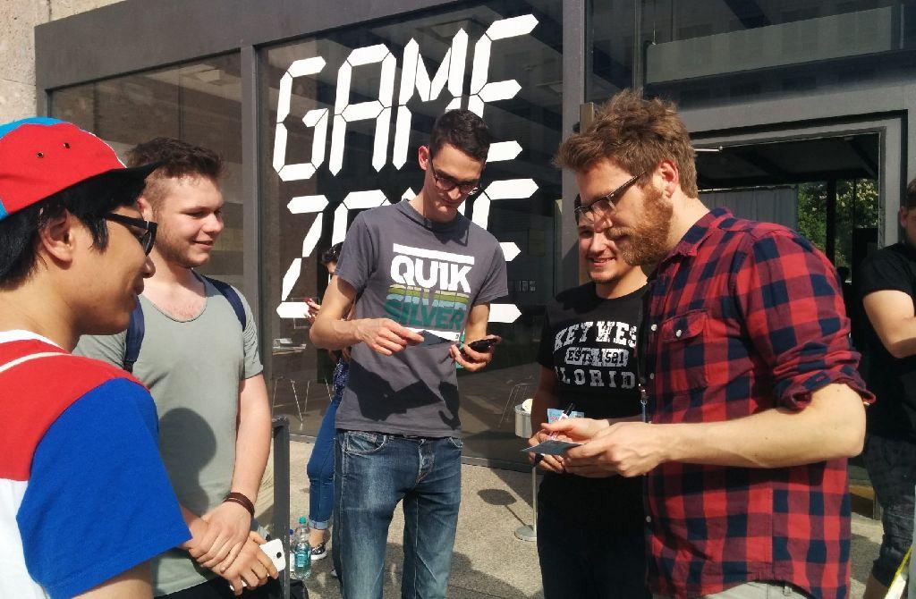 Nils Bomhoff (rechts) war am Freitag zu Gast beim Internationalen Trickfilmfestival in Stuttgart. Foto: Ulrike Ebner