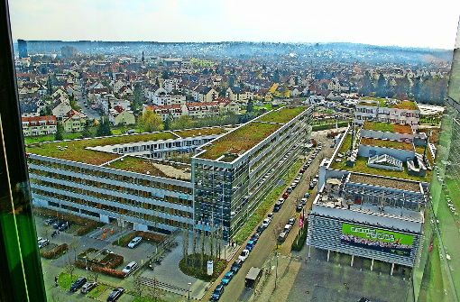 Blick über das Step-Gelände und Vaihingen: der Stadtbezirk wächst. Foto: Alexandra Kratz