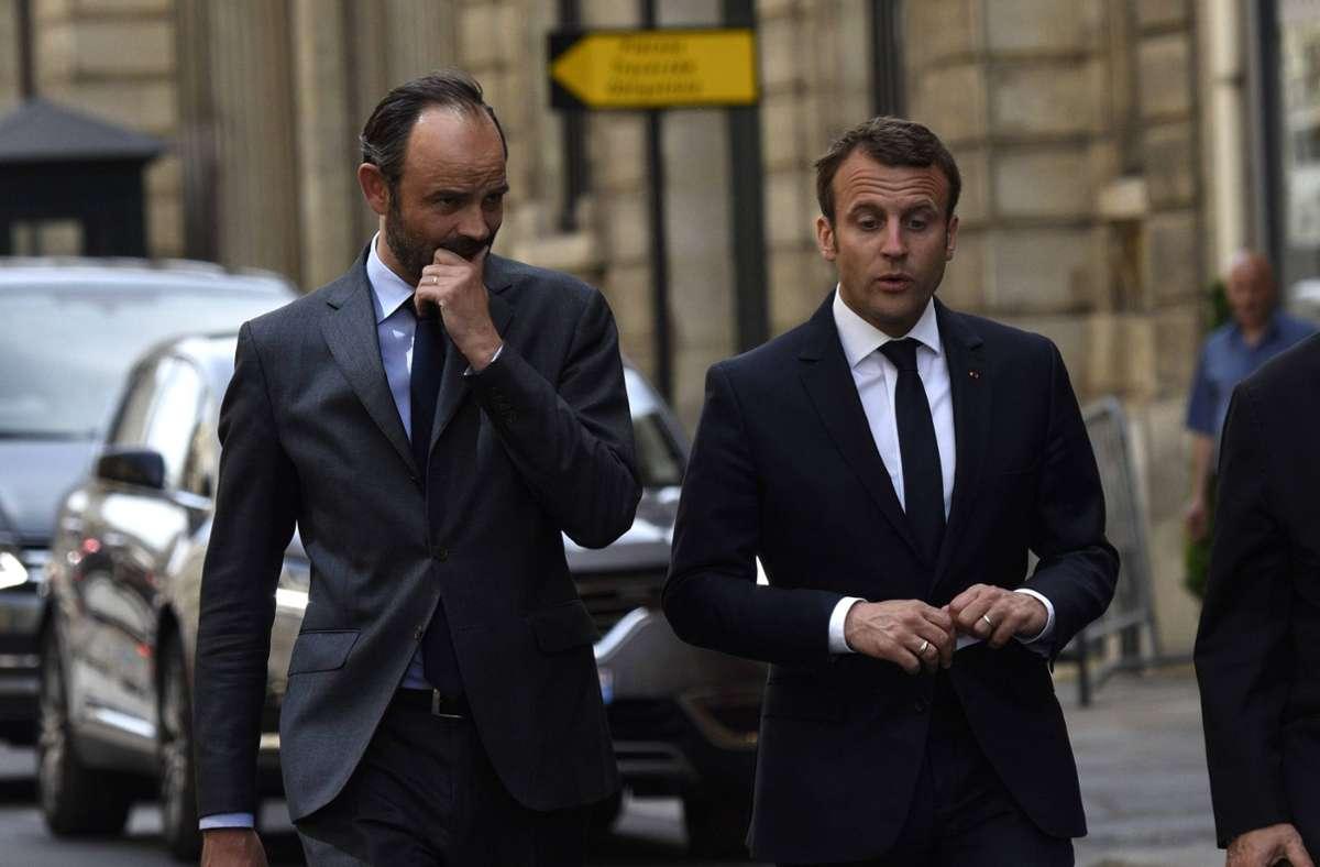 Frankreichs Premierminister Édouard Philippe (links) und Präsident Emmanuel Macron. Foto: imago/E-PRESS PHOTO.com/E-PRESS PHOTO.COM