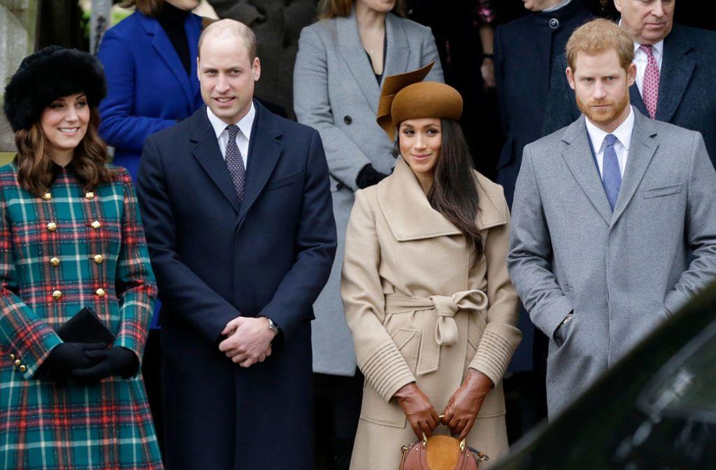 Herzogin Kate, Prinz William, Herzogin Meghan und Prinz Harry im Dezember 2018. Foto: dpa/Alastair Grant