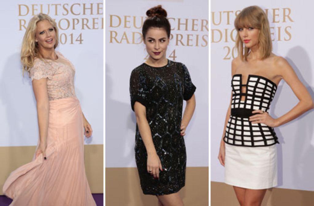 Frauenpower beim Deutschen Radiopreis: Moderatorin Barbara Schöneberger, Sängerin Lena Meyer-Landrut und US-Star Taylor Swift (von links) Foto: Getty Images