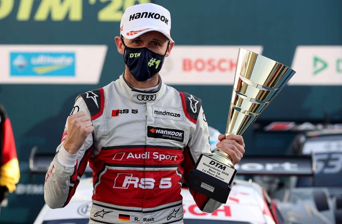 Auf der Erfolgswelle: Audi Werkpilot René Rast feierte innerhalb von vier Jahren seinen dritten Titel in der DTM. Foto: imago//Thomas Pakusch