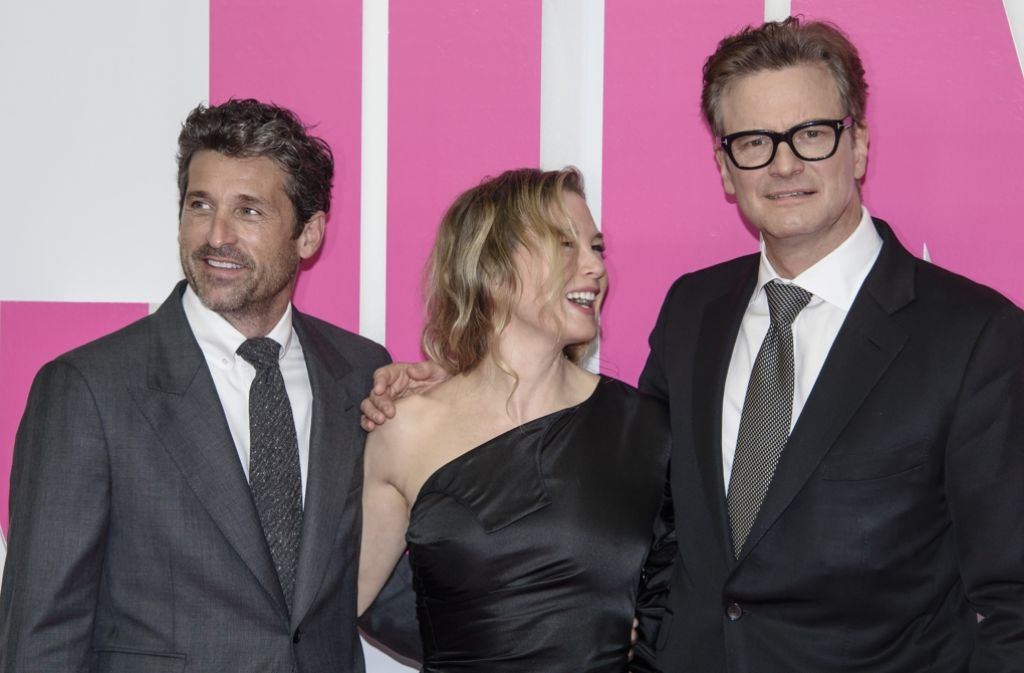 """Oscar-Preisträgerin Renée Zellweger (47) stellte mit ihren Filmpartnern Colin Firth (55, rechts) und Patrick Dempsey (50, links) den neuen """"Bridget Jones""""-Film in Berlin vor. Foto: Getty Images Europe"""