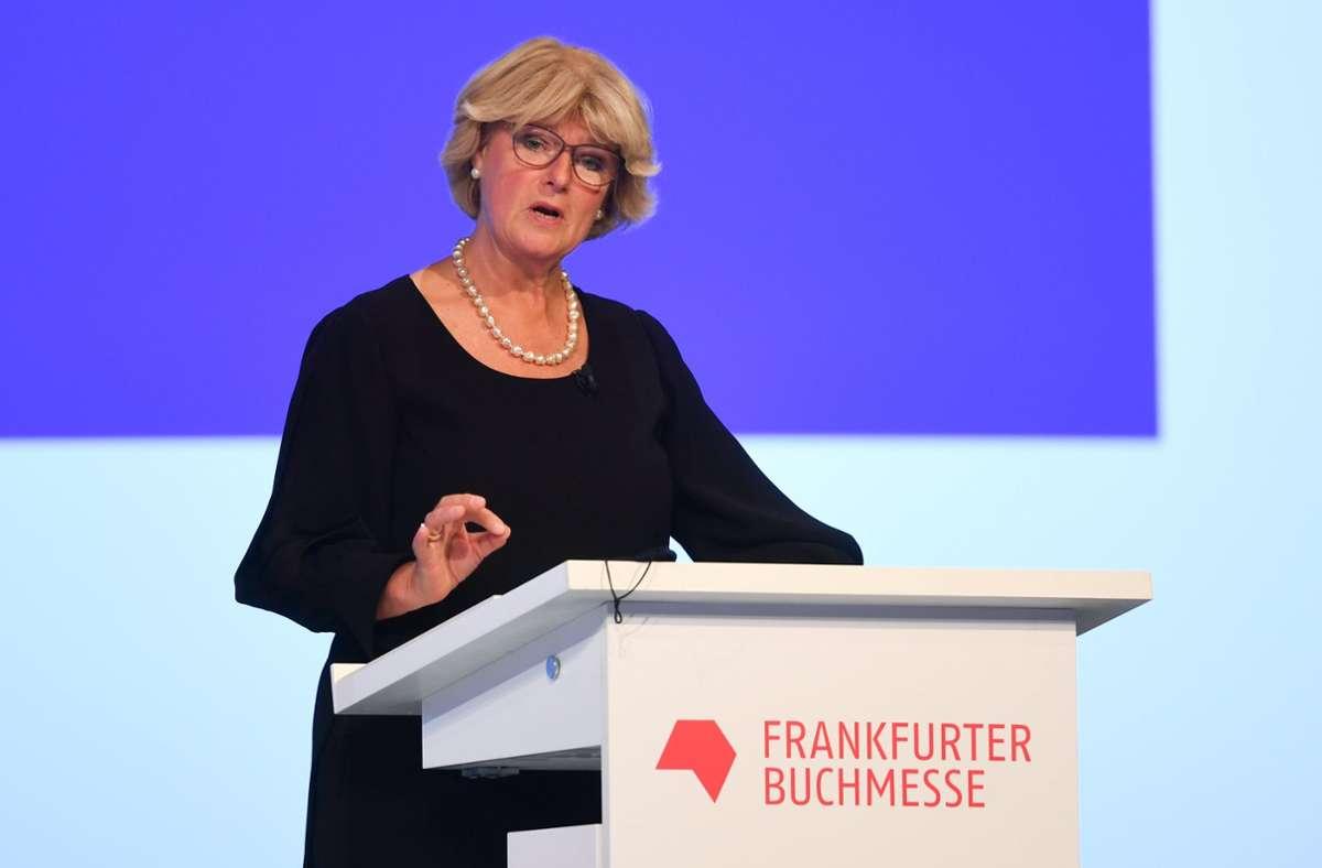 Kulturstaatsministerin Monika Grütters bei der Eröffnung der Frankfurter Buchmesse Foto: dpa/Arne Dedert