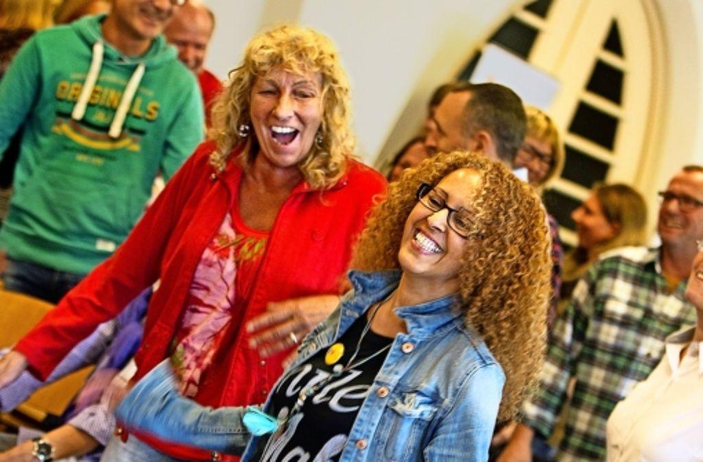 Es darf gelacht werden: Teilnehmerinnen der Lach-Olympiade in Aktion. Foto: Lichtgut/Rudel