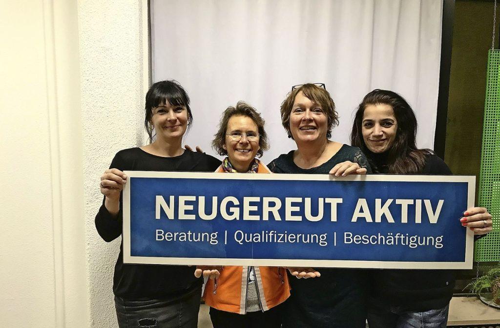 Christine Rothwein, Heide Gretsch, Anke Hägele und Soumela Amiridou (von links) vom Hilfsprojekt Neugereut aktiv. Foto: Neugereut aktiv (z)