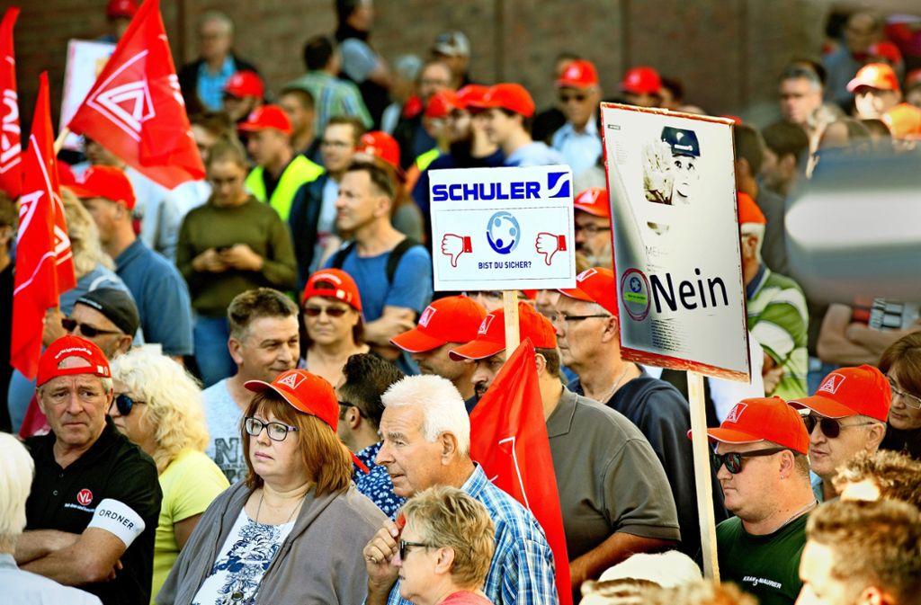 Viele Schuler-Mitarbeiter sorgen sich um ihre Arbeitsplätze. Foto: /Horst Rudel
