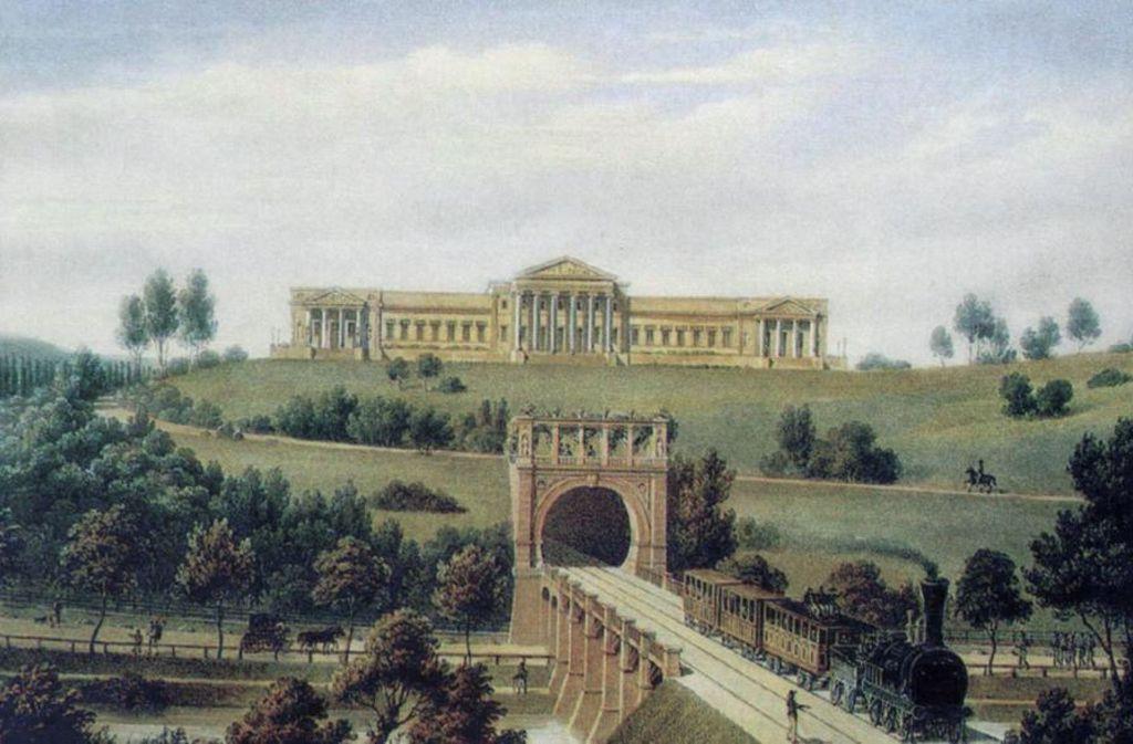 Zeitgenössische Darstellung des Rosensteintunnels unterhalb des Schlosses Rosenstein. Foto:Stadtarchiv Stuttgart Foto: