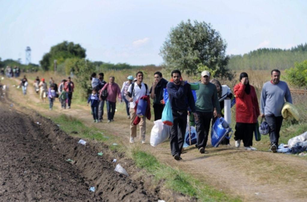 Flüchtlingstrecks wie dieser werden in ganz Ungarn beobachtet. Foto: MTI