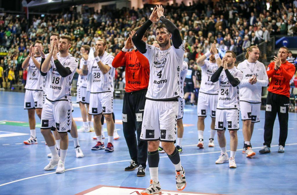 Falls die Handball-Saison abgebrochen wird, dürfte der THW Kiel erstmals seit 2015 wieder Deutscher Meister sein. Berechnungsgrundlage für die Abschlusstabelle soll eine Quotientenregelung sein. Foto: dpa/Andreas Gora