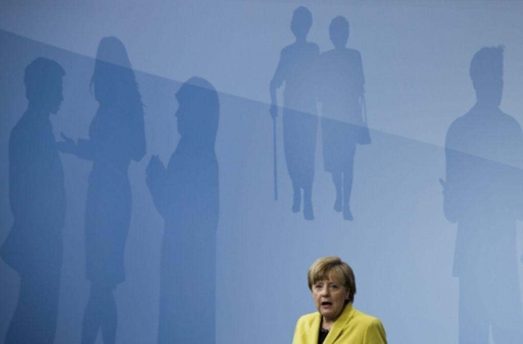 Bundeskanzlerin Angela Merkel (CDU) eröffnet in Berlin den neuen Bürgerdialog zur Lebensqualität in Deutschland Foto: AFP
