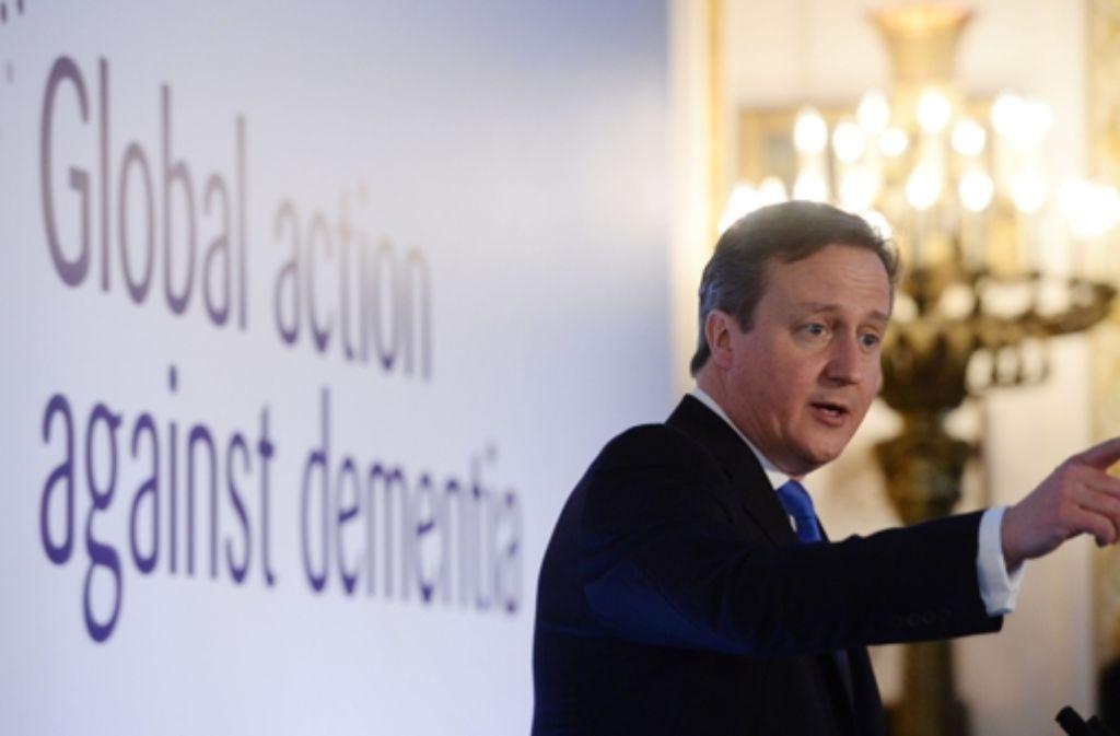 Der britische Premier Cameron fordert mehr Geld im Kampf gegen die Demenz. Foto: AFP